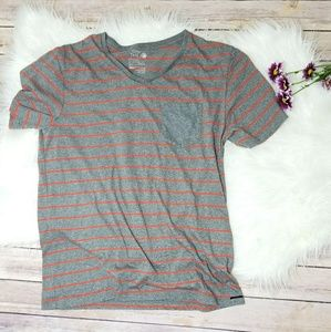 Striped V-Neck Short Sleeve Pocket T-Shirt